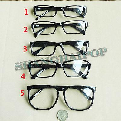 Black Clear Lens Glasses Large Slim Vintage Nerd Geek Fashion Sunglasses Frame