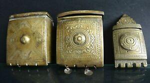 3-cartouchieres-ottomane-Turquie-Old-cartridge-militaria-brass-islamic-XIX