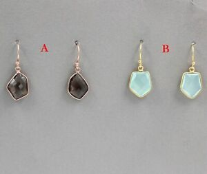 925-Sterling-Silver-Chalcedony-Smoky-Quartz-Gemstone-Gold-Plated-Gift-Earring