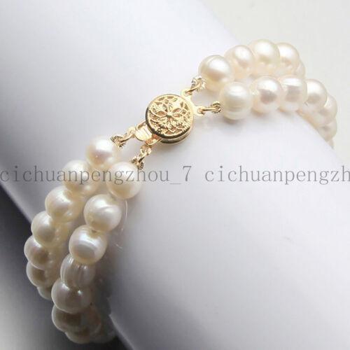 "Fashion 2 Rows 7-8mm //8-9mm Genuine Natural Freshwater Akoya Pearl Bracelet 7.5/"""