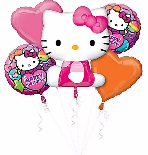 Hello Kitty Party Supplies Balloon Bouquet 5 Foil Balloons Helium Anagram Lic