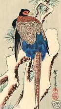 HIROSHIGE JAPANESE Hand Printed WOODBLOCK PRINT - Pheasant in Snow