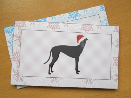 Greyhound Dog Christmas Money Wallet Envelope Gift Card Snowflakes Pink or Blue