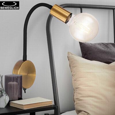 Vintage Wand Strahler Spot Lampe schwarz-gold Wohn Zimmer Leuchte verstellbar
