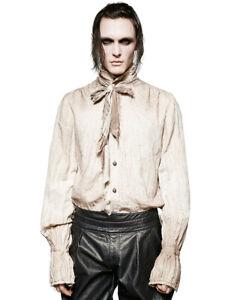 Punk-Rave-Top-Camisa-para-hombre-poeta-Steampunk-Gotico-De-coleccion-Victoriano-Blanco-Panuelo