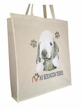 Bedlington Terrier Cotton Shopping Bag with Gusset and Long Handles Perfect Gift