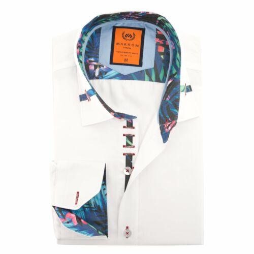 Oscar banche Tropicale Trim COLLARE design di stampa Smart Casual Camicia da uomo OCCASIONE