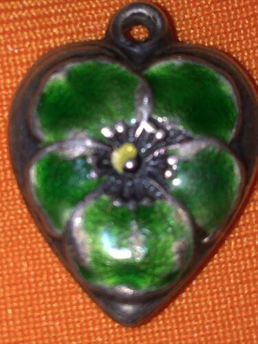 Vintage Sterling Puffy Heart Charm. Green Enamel P