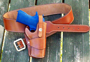Details about Reddog Leather Cowboy Western Holster & Belt, The WILD BUNCH  Rig!!