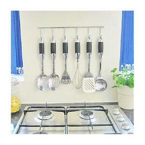 KITCHEN-UTENSIL-RAIL-RACK-WALL-HANGING-RAIL-FIXED-400MM-WITH-6-HOOKS-CHROME