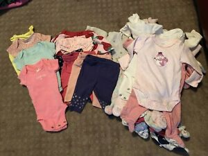 Carter-039-s-Newborn-Girls-Lot-of-28-Pieces-Footed-PJs-Bodysuits-Sweaters-Pants-Misc