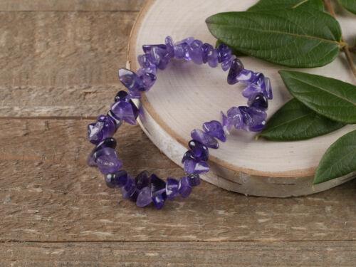 AMETHYST Healing Crystal Chip Beaded Bracelet Friendship Bracelet E0625
