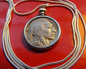 Traditional-1936-1937-U-S-Buffalo-Nickel-on-a-30-034-925-Silver-Snake-Chain
