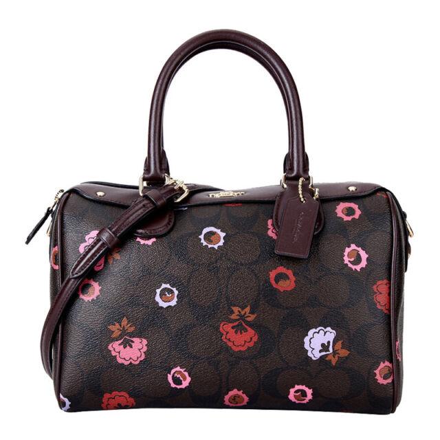 e6889e78f2 Coach 24371 Mini Bennett Printed Floral Logo PVC Handbag Brown Multi ...