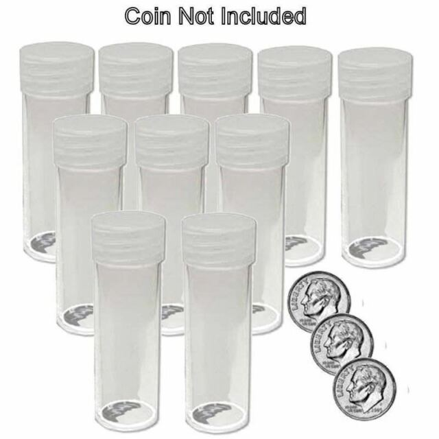 20 BCW Round Dime Coin Storage Tubes 18mm Clear Plastic Screw On Cap New Lot