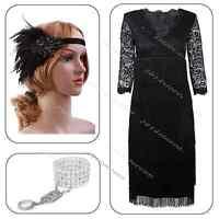 New Black Sequin Fringe Flapper Midi Dress Formal Party Costume Size 8 10 12 14