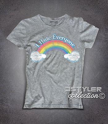 T-shirt donna CARE BEARS I Hate everyone Orsetti del cuore arcobaleno Rainbow