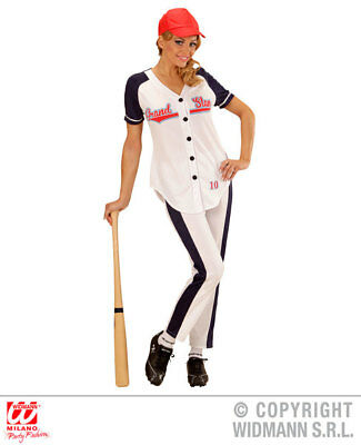 Womens Ladies American Baseball Girl Fancy Dress Costume Outfit Adult