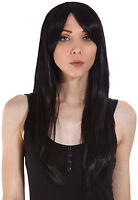 Women Black Long Straight Hair Cosplay Party Neat Bangs Healthy Synthetic Wig