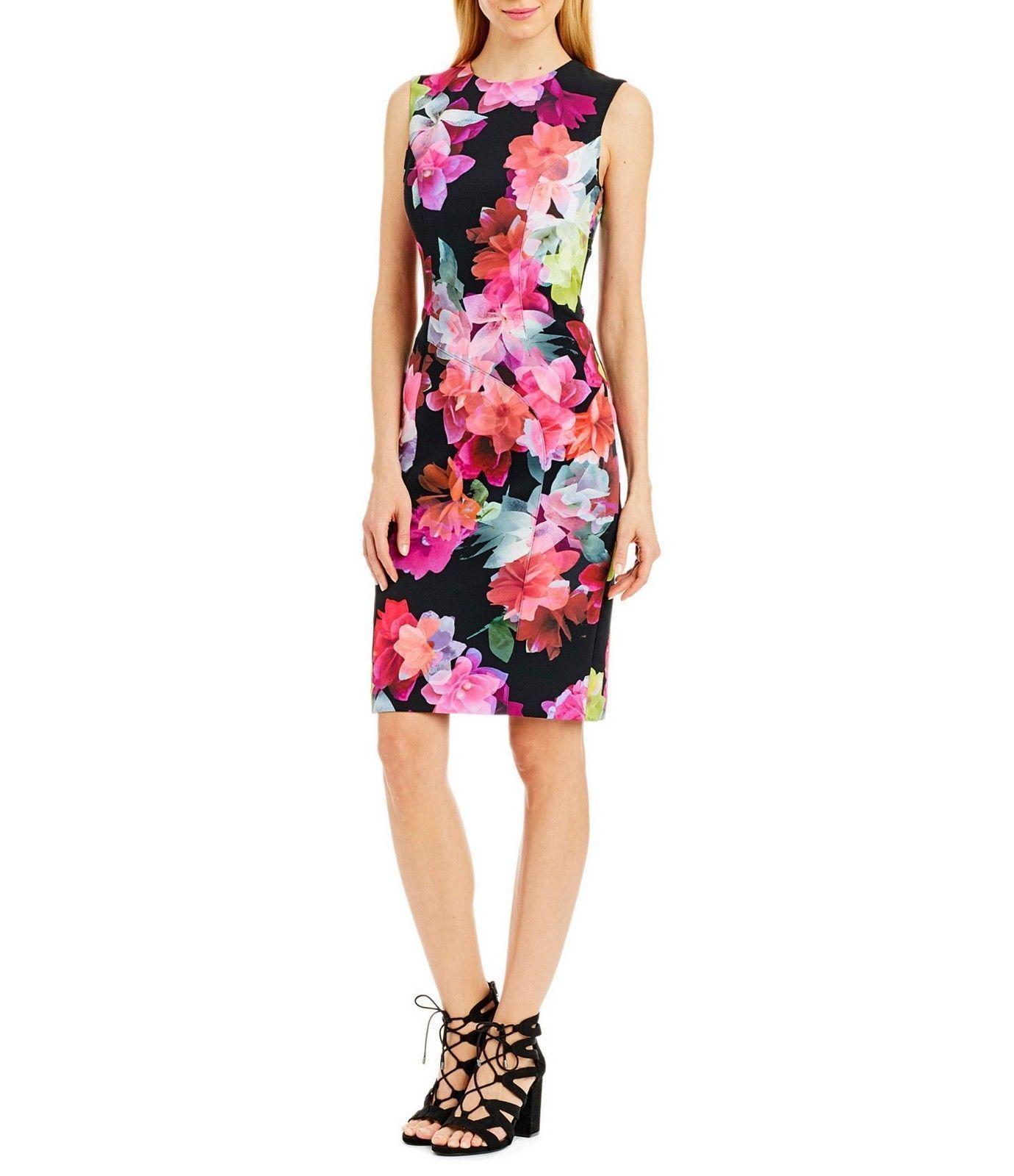 NEW NEW NEW  Nicole Miller New York Floral  Sheath Dress Size 10 011b04
