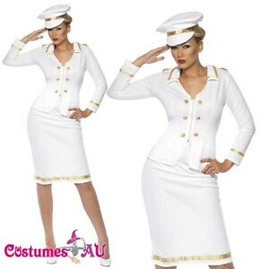 Ladies Smiffys Officer's Mate Sailor Costume Captain Navy Fancy Dress Pin Up