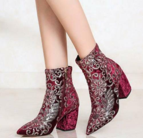 Fashion Womens Floral Velvet Pointy Toe Party Mid Calf Boots Block Heel shoes