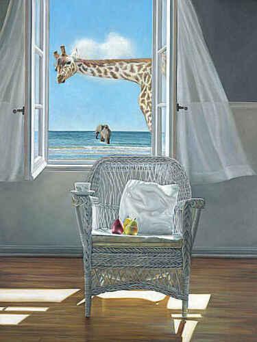 Karen Hollingsworth Rubberneck Coastal Giraffe Elephant Print Poster 32x42