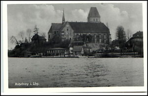 Ratzeburg-Schleswig-Holstein-Postkarte-um-1940-50-Blick-auf-Kirche-Dom-Fluss