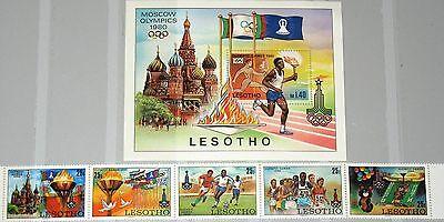Das Beste Lesotho 1980 291-95 Block 5 295a 296 Olympics Moscow Games Soccer Misha Mnh Attraktive Mode
