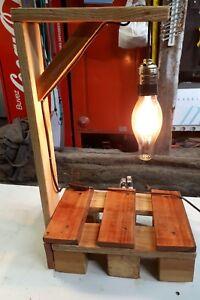Superbe Lampe De Chevet De Table Luminaire Vintage Fait Avec Bois De