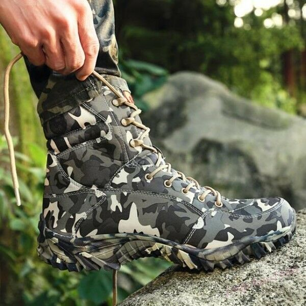 New Outdoor Mens Lace Up Canvas Hiking Ankle Military Desert Camouflage Shoes