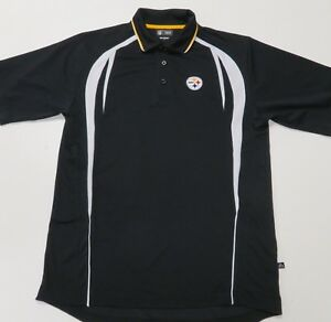 Nfl Team Apparel Pittsburgh Steelers Black Polo Shirt Mens Large Excellent Men's Clothing
