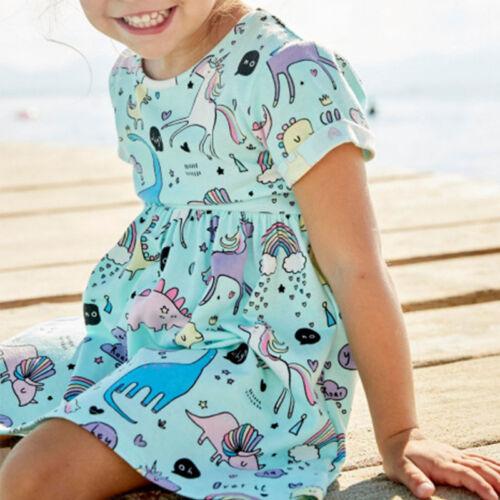 Baby Mädchen Kinder Kleid Kleidung Sommer Freizeitkleid Tierdruck Tunika Kurzarm