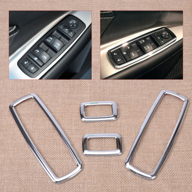 4Pcs Chrome Window Switch Frame Cover Trim For Jeep Grand Cherokee Dodge Journey
