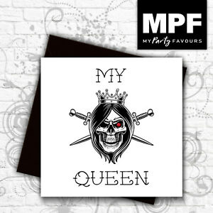 039-My-Queen-039-hand-made-tattoo-skull-style-birthday-anniversary-card-gem-stone-eye
