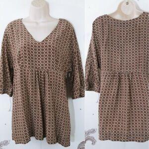 Banana-Republic-Womens-Large-3-4-Sleeve-Blouse-100-Silk-Medallion-Print-H-13