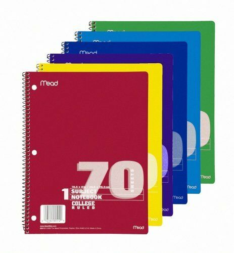 Mead 1-subject Wirebound Ruled Notebook - 70 Sheet - College Ruled - 8 X 10.50