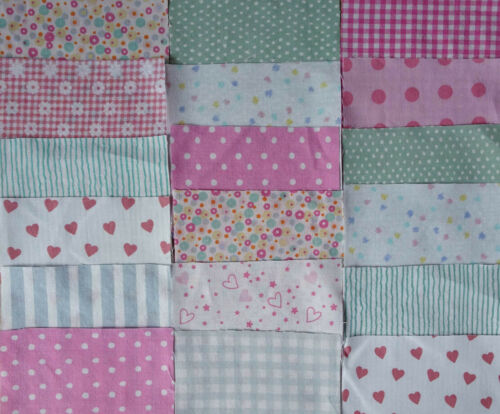 Pink and Green Patchwork 25 plus FREE matching Fat Quarter Charm pack 4 ins