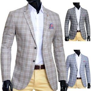 Casual Check Blazer For Men Smart Suit Jacket Beige Black Cherry Cotton  Slim Fit | eBay
