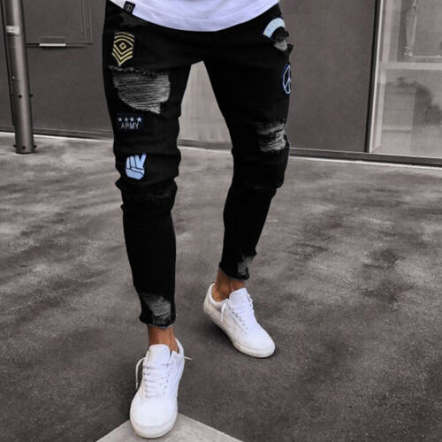 Men/'s Ripped Skinny Biker Jeans Destroyed Frayed Slim Fit Denim Pants Trousers