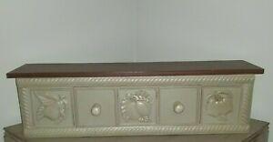 "Vintage Retired Wood Home Interior Green Shelf W/ Drawer Rustic Shabby 24"" Fruit"
