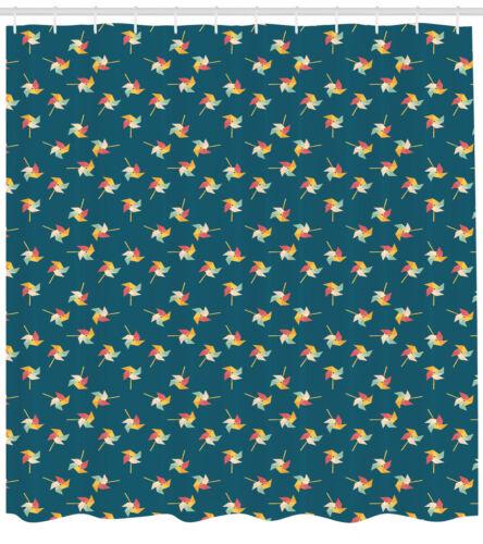 Pinwheel Shower Curtain Fabric Bathroom Decor Set with Hooks 4 Sizes