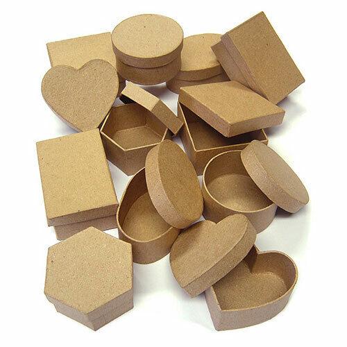 Listo Para Pintar De Papel Maché cajas Conjunto de 12 formas variadas, corazón, oval, cuadrada