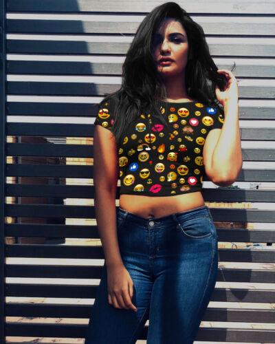 T shirt crop top Checkered black camouflage emoji Checker Cropped Tee tshirt