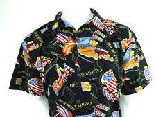 Mens High Surf Route 66 Map Classic Cars Hawaiian Cotton Button Front Shirt XL
