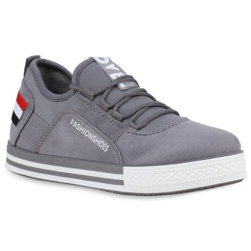 Damen Plateau Sneaker Wildleder-Optik Freizeit Plateauschuhe Print 826608 Trendy