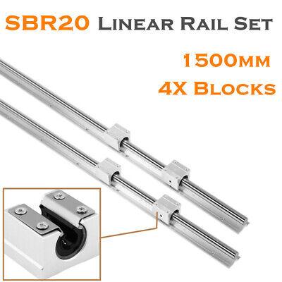 2x SBR20 L300-1500mm Linear Rail Shaft Rod 4x SBR20UU Block Bearing US Stock