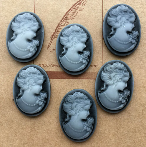 18 pcs  retro beauty head convex oval resin flatback scrapbook for craft ,U PICk