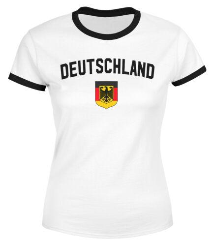 Klassisches Damen WM-Shirt Deutschland Flagge Retro Trikot-Look Fan-Shirt