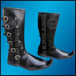 Details zu mittelalterlich königlich Ritter Reiten Stiefel rein Leder lange Schuhe schwarz